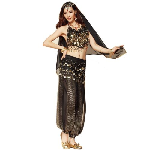 Belly Dance Costume Bollywood Indian Dance Dress Carnival Party Top Pants Set