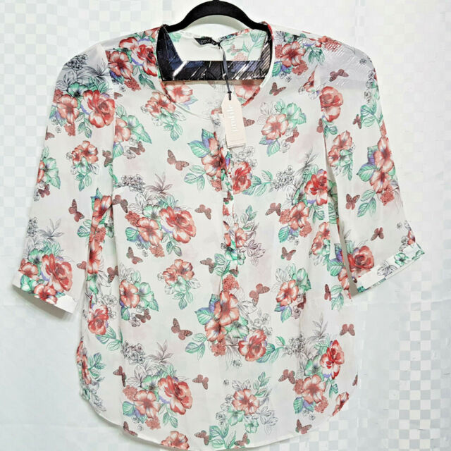 New M/&S COLLECTION New Ladies 3//4 Sleeve Floral Top Blouse