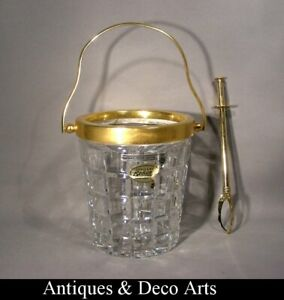 Vintage-Bohemian-Gold-Plated-Metal-amp-Crystal-Glass-Ice-Bucket