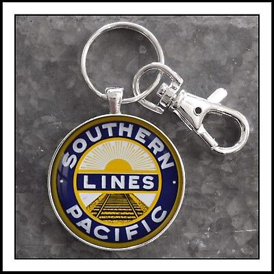 Vintage Railroad Sign Photo Keychain Southern Pacific Lines Train