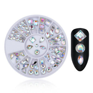 AB-Color-Marquise-Round-Rhinestone-Flat-Bottom-3D-Nail-Art-Decoration-in-Wheel