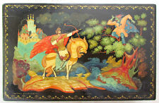 VINTAGE RUSSIAN HAND PAINTED SIGNED PAPER MACHE LACQUER BOX