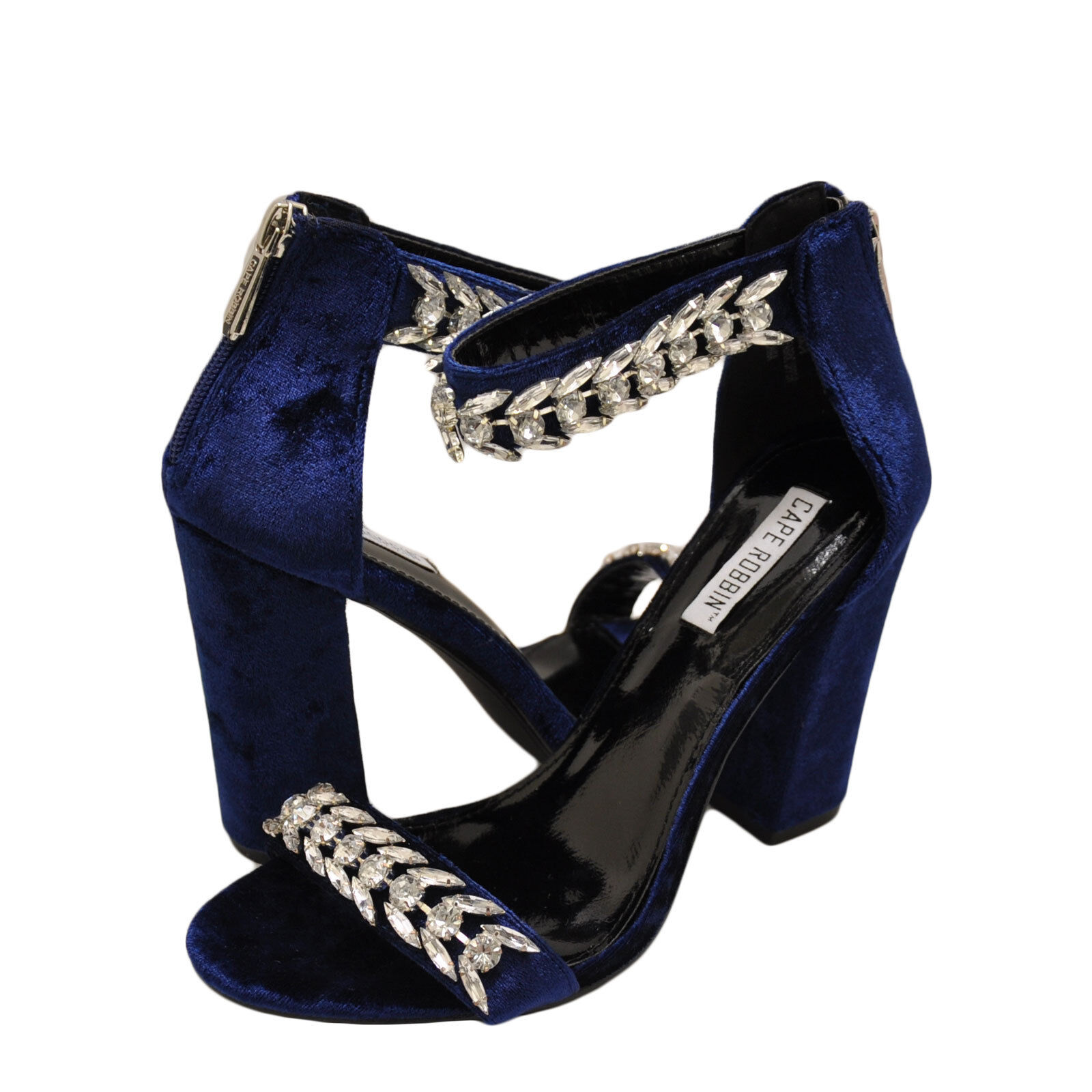 Women shoes Cape Robbin Ekko 9 Rhinestone Embellished Open Toe Heel bluee New