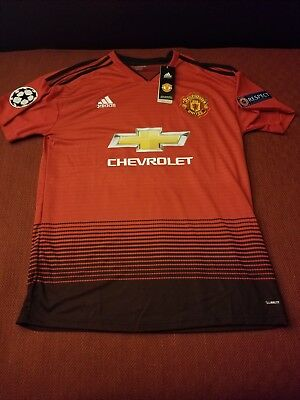 new style acc3e e26c5 LARGE MANCHESTER UNITED PAUL POGBA ADIDAS HOME SOCCER JERSEY 2018-2019 |  eBay
