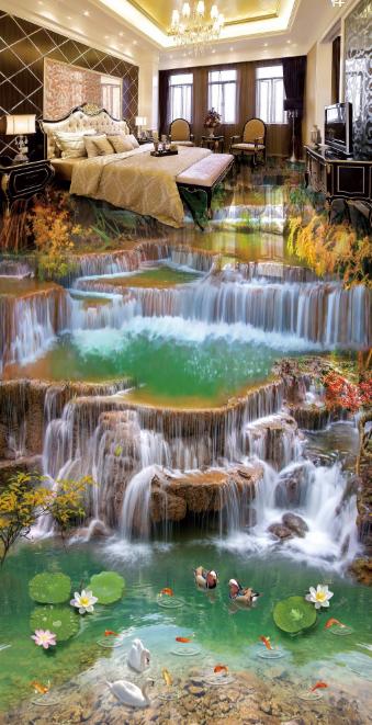 3D 3D 3D River Lotus Bushes 78 Floor WallPaper Murals Wall Print Decal AJ WALLPAPER US 8c8176