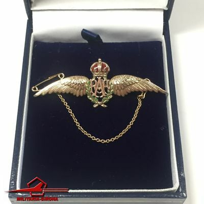 Wings Brooch R.a.f King's Crown Fine Jewelry Orderly Wwii Sweetheart Gold 9ct Fine Pins & Brooches