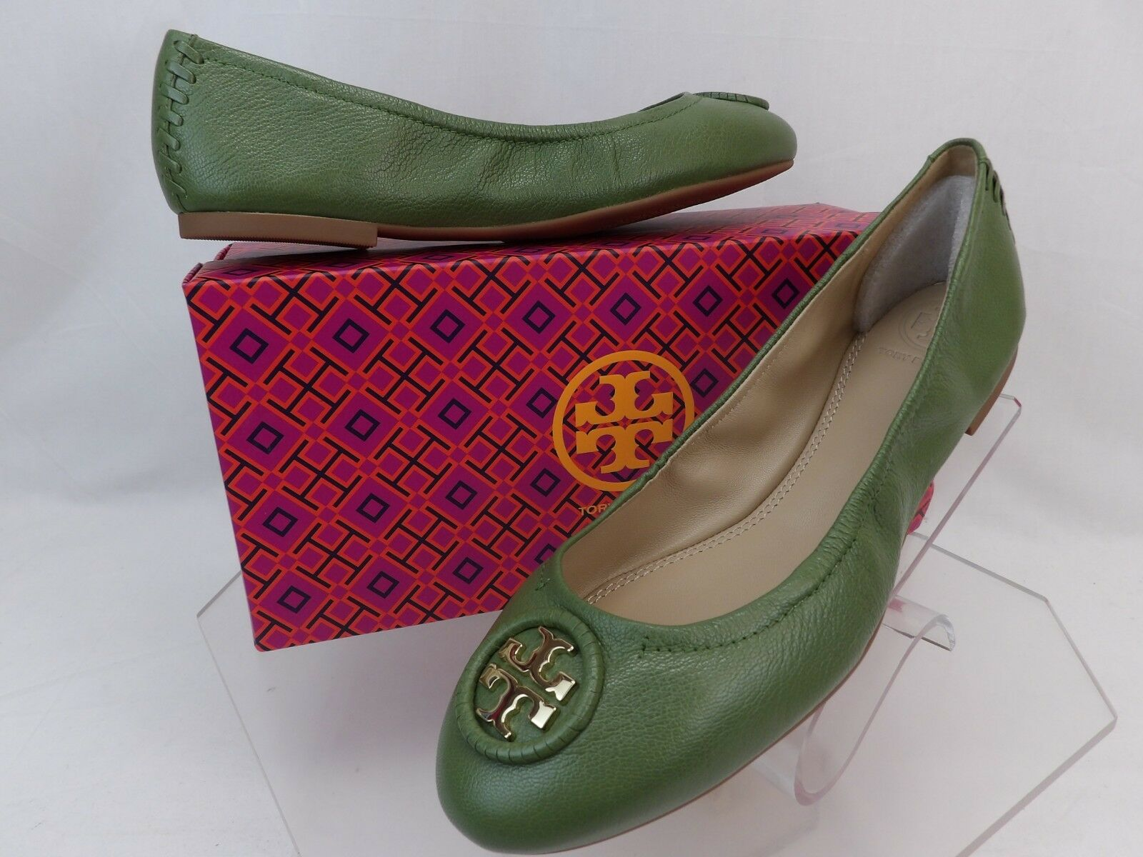 NIB TORY BURCH ALLIE DAPHNE TUMBLED LEATHER LEATHER LEATHER gold TONE REVA BALLET FLATS 8.5 bb5117