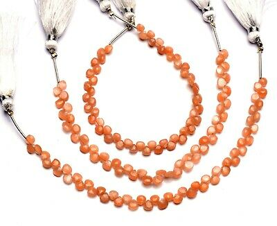 Natural Peach Moonstone Faceted Briolette Moonstone Gemstone 7 MM Size 7 Strand Peach Moonstone Heart Shape Beads Peach Moonstone Beads