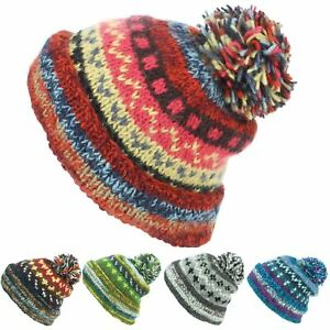 ab76c2cdcbf Chunky Wool Knit Beanie Bobble Hat Men Ladies Warm Winter ABSTRACT ...
