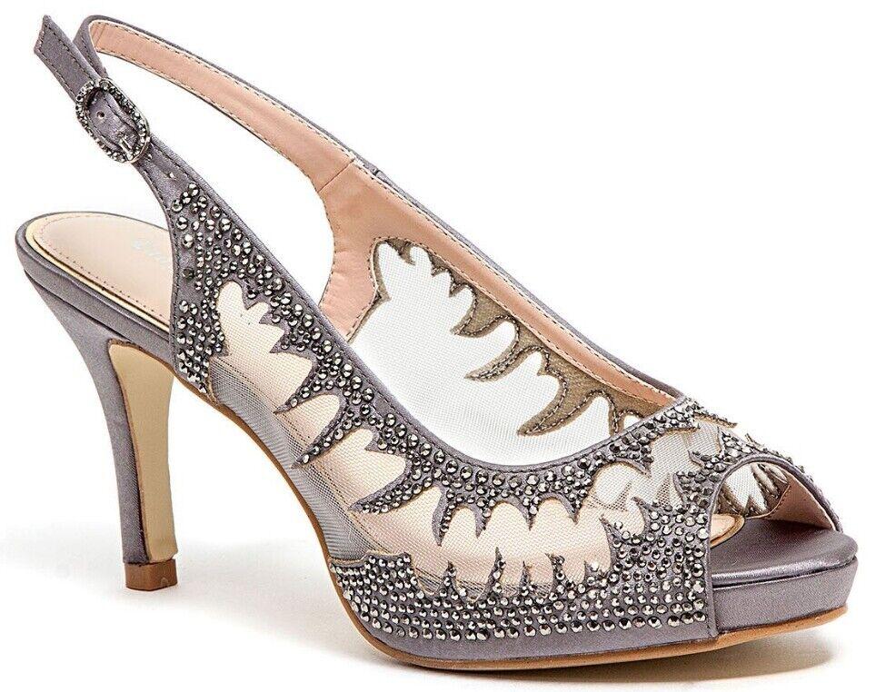 tutto in alta qualità e prezzo basso Lady Couture Donna  Spicy Classy Peep Toe Toe Toe Slingback Heels Pewter  vendite dirette della fabbrica