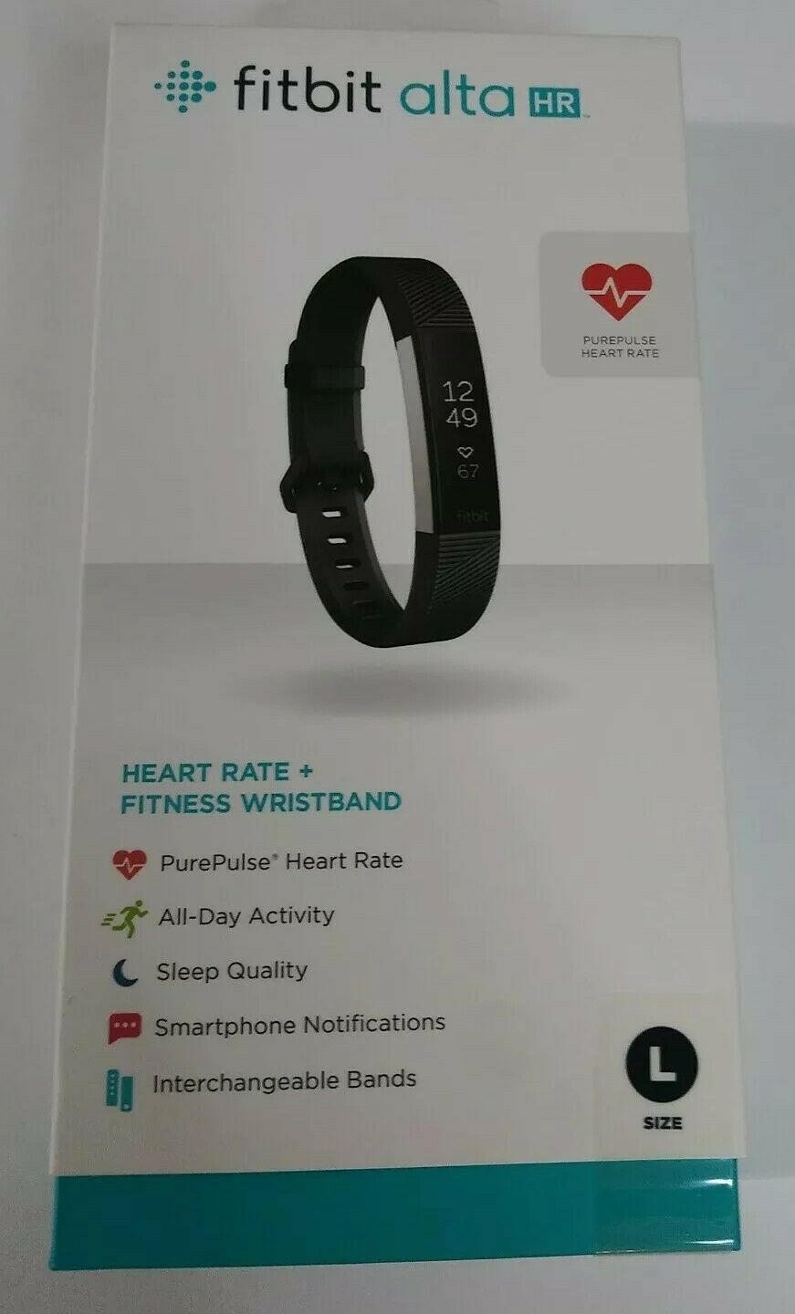 Fitbit Alta HR Fitness Tracker Heart Rate Monitor L (Large) - Black