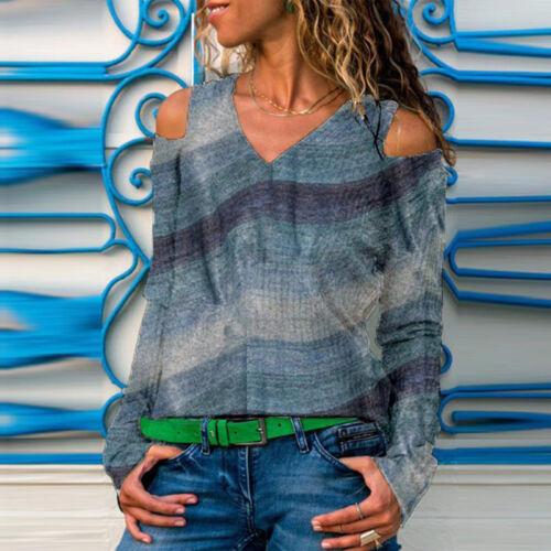 Damen Schulterfrei Langarmshirt Hemd Bluseshirt Arbeit V-Ausschnitt Business Top