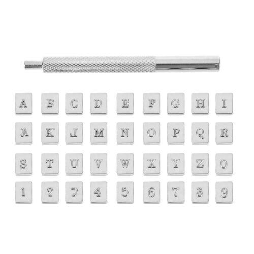 36tlg Stahl Punch Alphabet Buchstaben Anzahl Stempel Metall Leder Handwerk