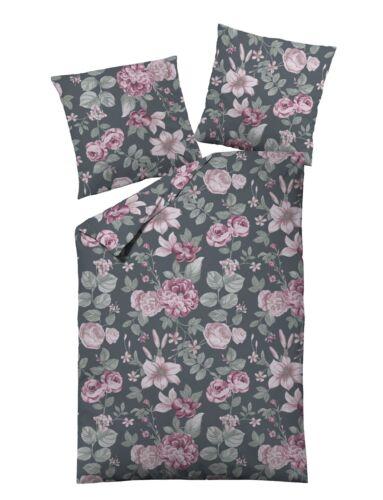 Dormisette Edel Biber Bettwäsche 135x200  Lilien Rosen grau rosa Blumen 5522-40