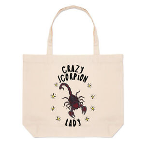 Crazy-Scorpion-Lady-Stars-Large-Beach-Tote-Bag-Funny-Animal-Shoulder-Shopper