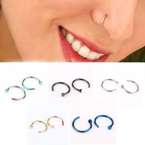 2pcs Cute Surgical Steel Nose Open Hoop Ring Studs Earring Body Piercing Jewelry