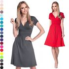 Glamour Empire Women's Knee Length Short Sleeve Jersey Skater Summer Dress 108