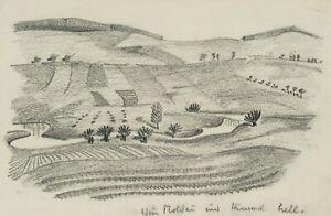 Blick-auf-die-Moldau-Landschaftsdarstellung-1938-Bleistiftzeichnung