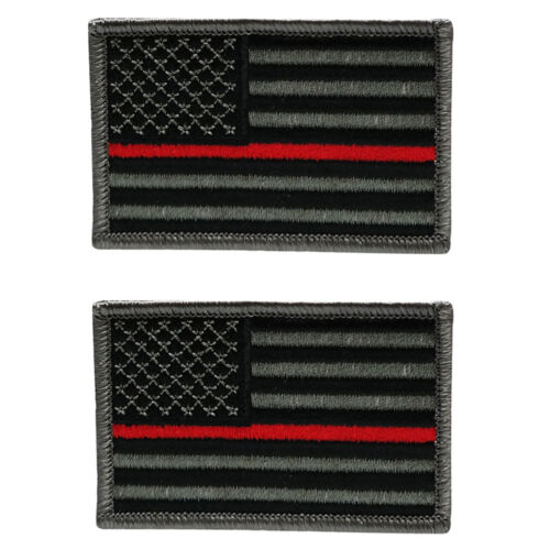 2Pc Pack Thin Red Line Fire Fighter EMS Flag Embroidered Iron On Patch