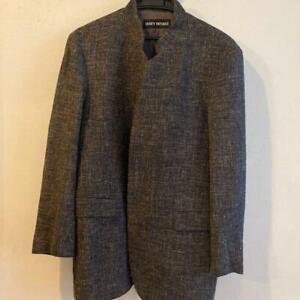 Men-039-s-outer-tailored-jacket-ISSEY-MIYAKE-One-Size-Wool-Cupra-Hemp-gray-J2654