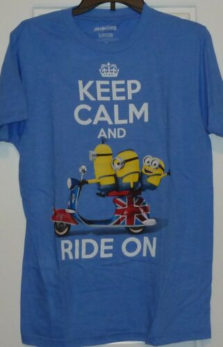 Minions Keep Calm and Ride on Anglais Britannique Vélo Chive T Shirt Méprisable Me