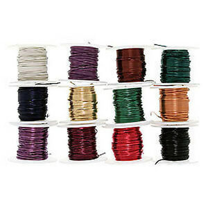 12 Spools Assorted Color Craft Beading Artistic Wire 22 Gauge 5 Yards Each