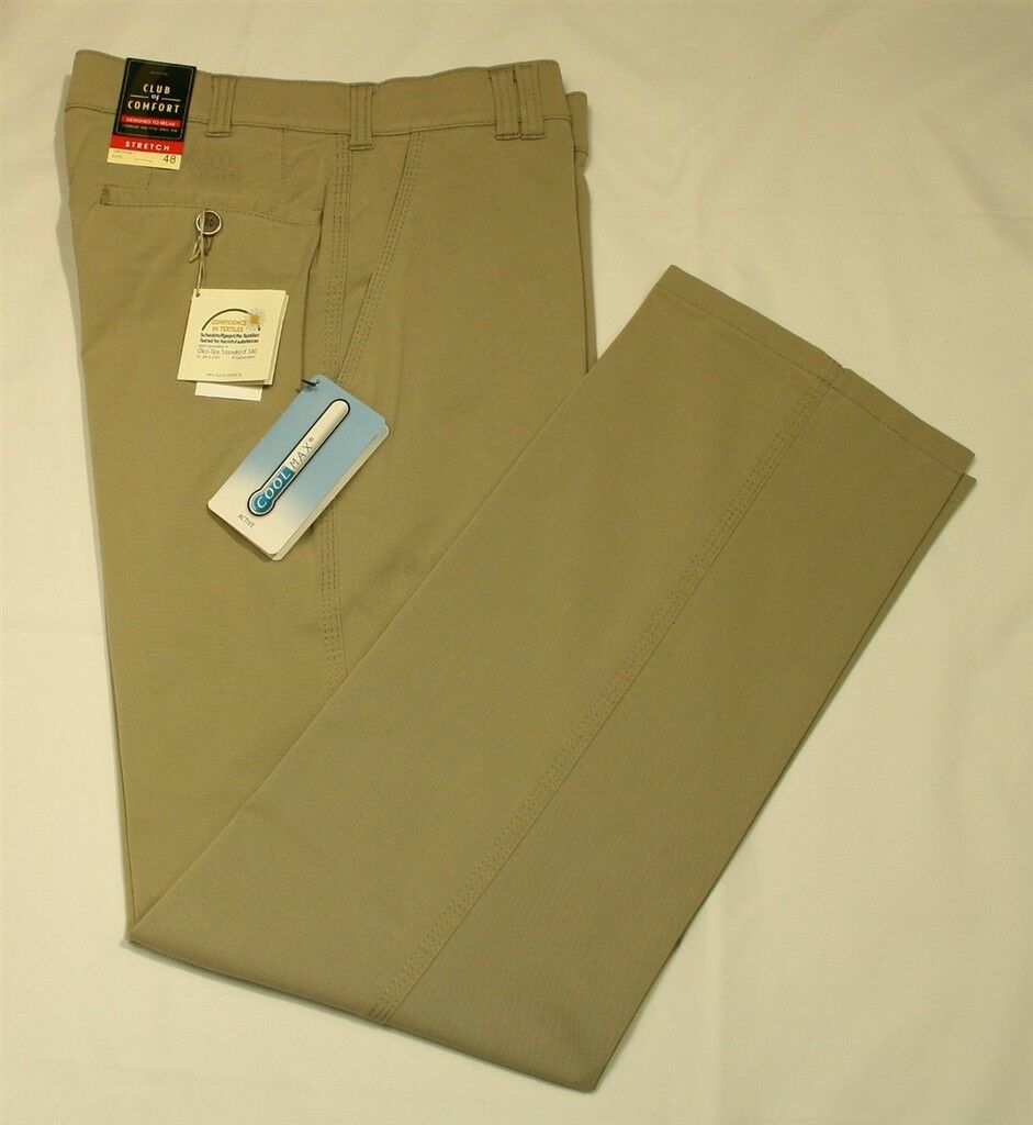 CLUB of COMFORT Stretch Chino Hose DENVER Gr. 50 khaki leichte Sommerhose