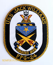 USS JACK WILLIAMS FFG-24 PATCH FRIGATE PINUP US NAVY MOH IWO JIMA GIFT WOW!