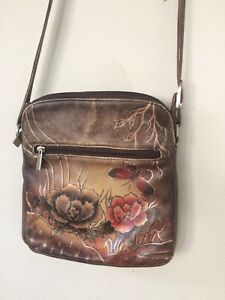 Biacci-Dark-Pebbled-Leather-Shoulder-Bag-Hand-Painted-Floral-w-Butterfy-Medium