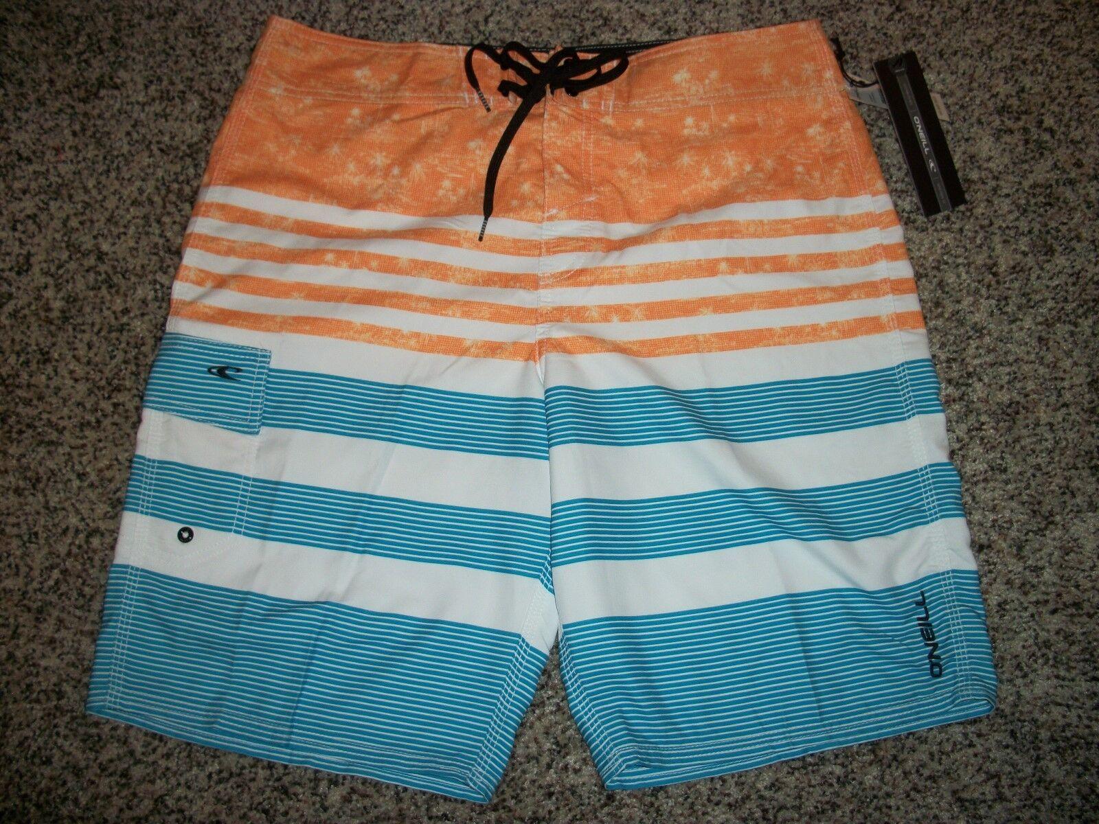 O'NEILL New NWT Mens 33 Board Swim Shorts White orange bluee Stripe