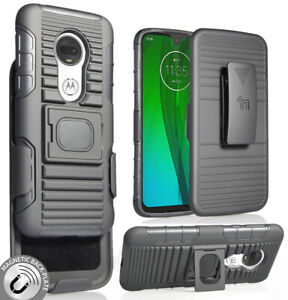 Black-Rugged-Grip-Case-with-Stand-Belt-Clip-Holster-for-Motorola-Moto-G7-Plus