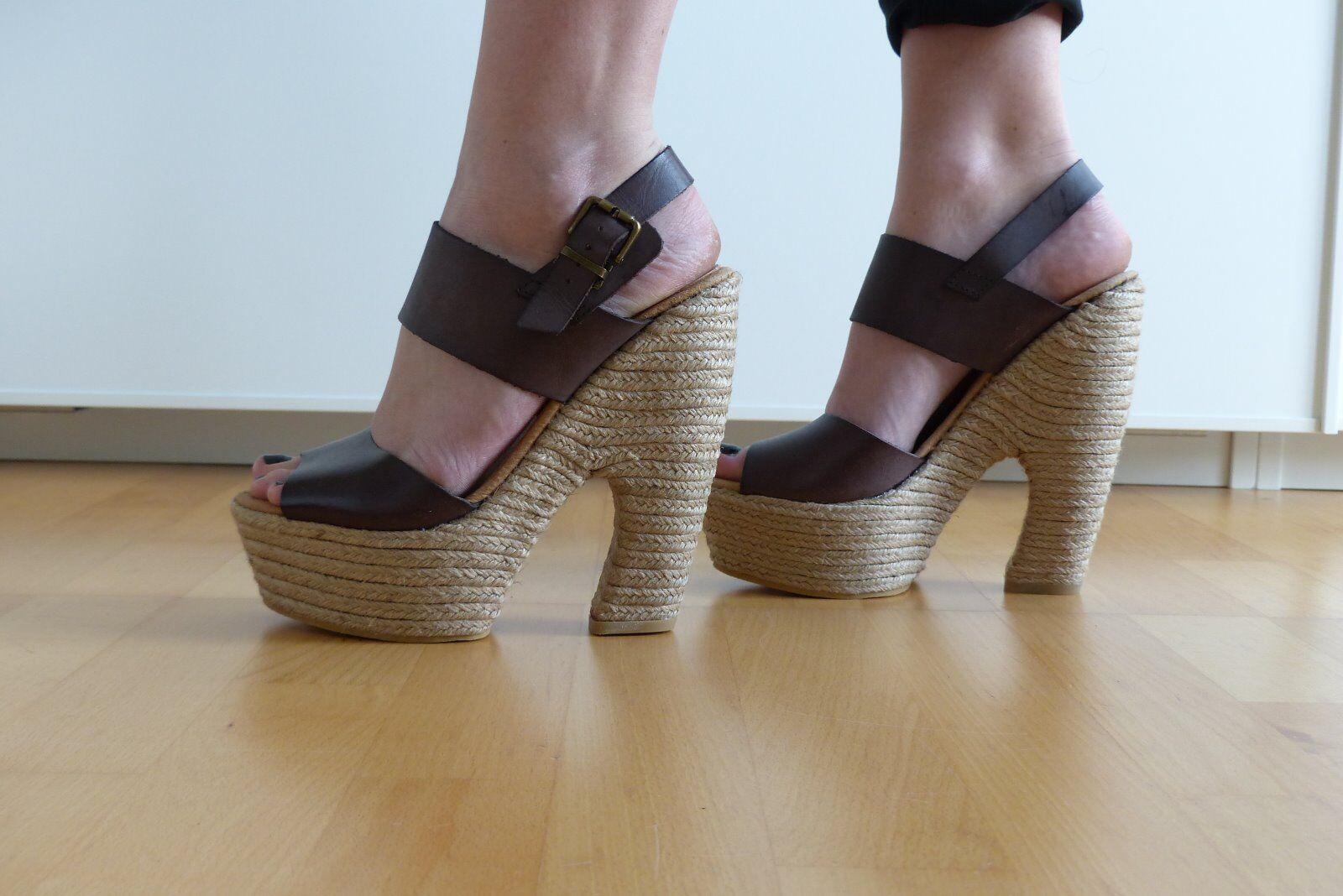Topshop Sandaletten Sandals Bast Leder marron Gr. 39 UK 6