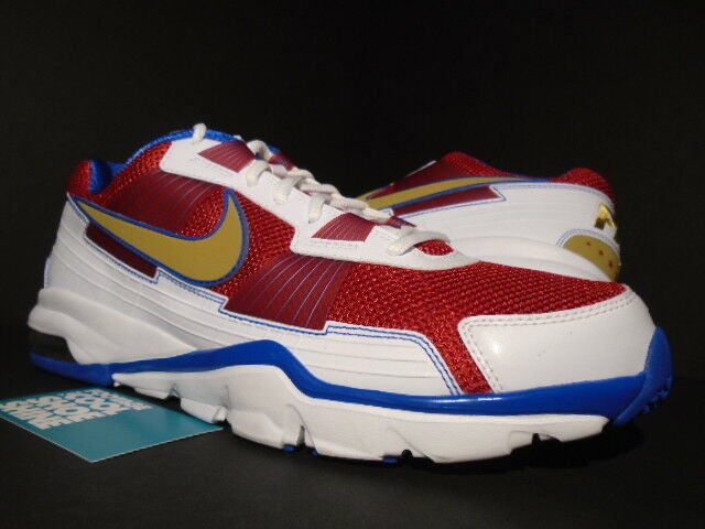 NIKE AIR TRAINER SC 2010 LOW MANNY PACQUIAO 1 WHITE gold RED blueE 407846-176 9.5
