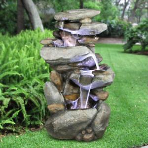 Fountain Rock Waterfall With LED Lights Patio Garden Yard Decor Indoor Outdoor