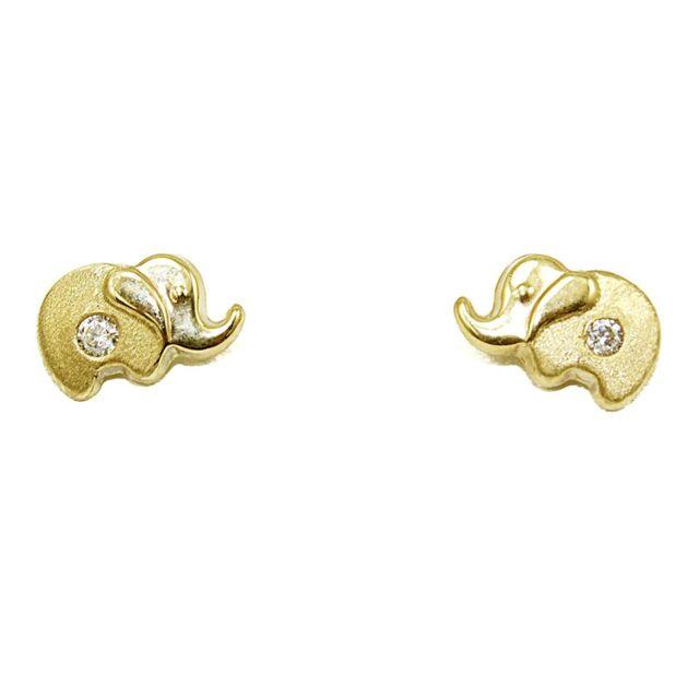 14k Yellow Gold Elephant Earrings 0 80mm