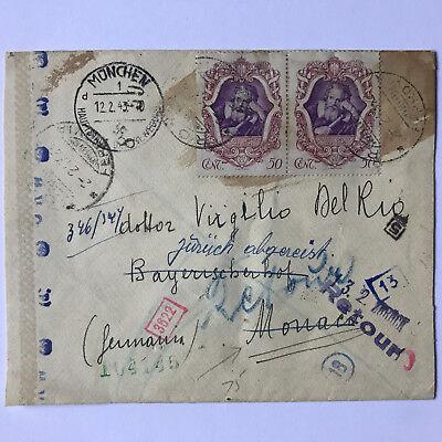 Diskret Italien Rom 12.2.1943 Auf Monaco über München Retour Seltener Beleg