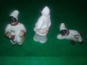 ceramica-porcellana-artistica-Capodimonte-lotto-tris-tre-3-Pulcinella-diversi