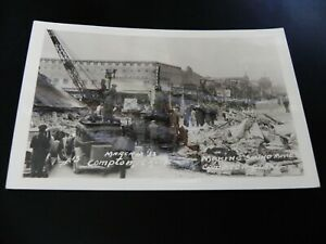 Earthquake Compton California CA RPPC Real Photo Filming Movie Camera Cars Crane
