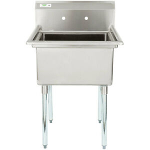 "Restaurant Kitchen Sink 28"" stainless steel nsf one compartment commercial restaurant"