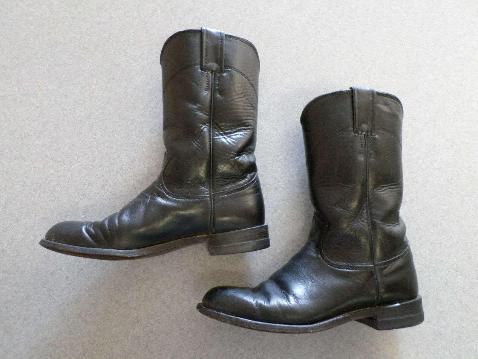Justin  L3703  black leather western boots, Women's 6 C made in USA