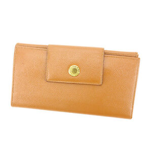 Bvlgari-Wallet-Purse-Long-Wallet-Beige-Gold-Woman-Authentic-Used-P403