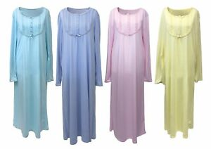 Ladies-Vintage-Full-Length-Long-Sleeve-Colourful-Victorian-Nightdress-Nightgown