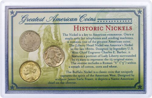 Historic Nickels Greatest American Coins Varied Date US Mint Currency 5c Cents