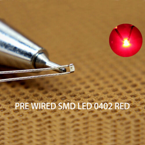 T0402R 20pcs Pre-soldered micro litz wired leads RED SMD Led 0402 NEW