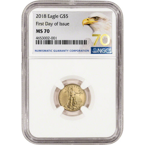 $5 1//10 oz 2018 American Gold Eagle NGC MS70 First Day of Issue Grade 70