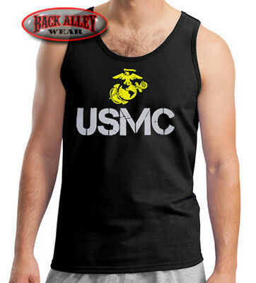 USMC Tank Top Shirt Beater Marine Corps Muscle United States Military Hoorah