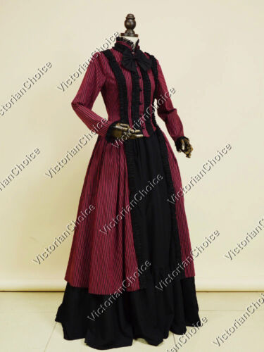Victorian Dresses, Clothing: Patterns, Costumes, Custom Dresses     Victorian Gothic Stripe Penny Dreadful Dress Steampunk Theater Clothing N 175 $149.00 AT vintagedancer.com