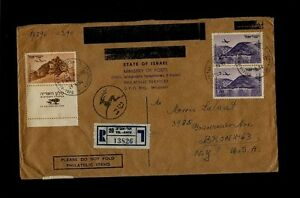 Scott# C12 WITH TAB & C10 (x2) on an OCT 2 1957 Registered - Israel to Bronx NY