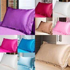 SOLID-COLOR-Queen-Standard-Silk-Satin-Pillowcases-Bedding-Pillowcase-Smooth-Home