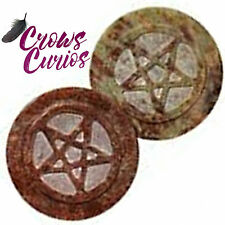 """Encircled Pentacle Altar Tile Paten Talisman 3"""" Soapstone Wiccan Pagan Witch"""